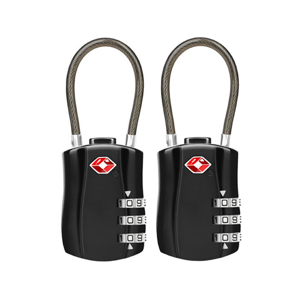 Jet Set TSA Combination Cable Luggage Lock 2 Pack - Black