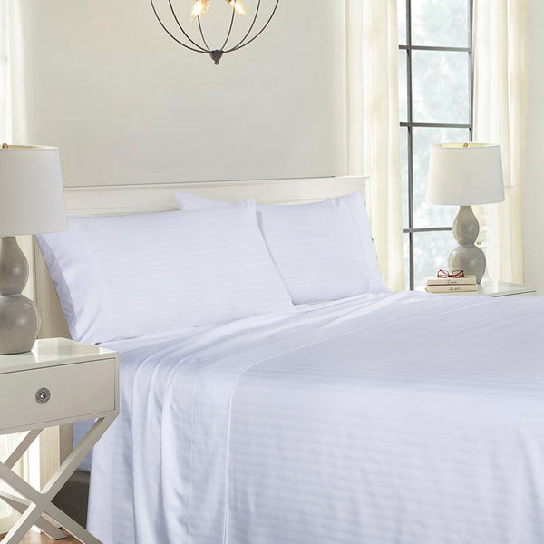 Royal Comfort Blended Bamboo Sheet Set with Stripes - Various Colours and Sizes