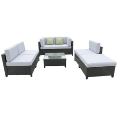 Milano Outdoor 7 Piece Rattan Sofa Set - Black Coating & Grey Seats