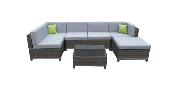 Milano Outdoor 7 Piece Oatmeal Rattan Sofa Set - Oatmeal and Grey