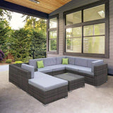 Milano Outdoor 9 Piece Oatmeal Rattan Sofa Set - Oatmeal (Brown) Coating & Grey Seats