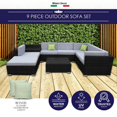 Milano Outdoor 9 Piece Rattan Sofa Set - Black