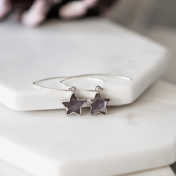 moonstone star earrings