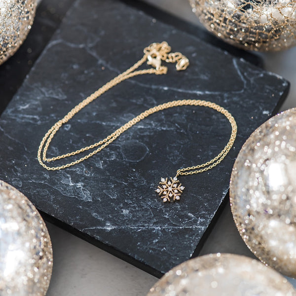 Snowflake Necklace - Sparkly Gold & Cubic Zirconia
