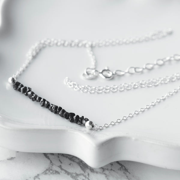 black diamond nugget necklace sterling silver