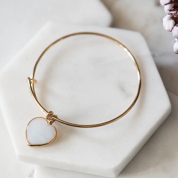 gold bangle bracelet white heart