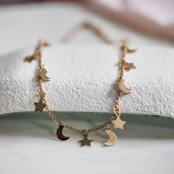 gold moon & stars necklace