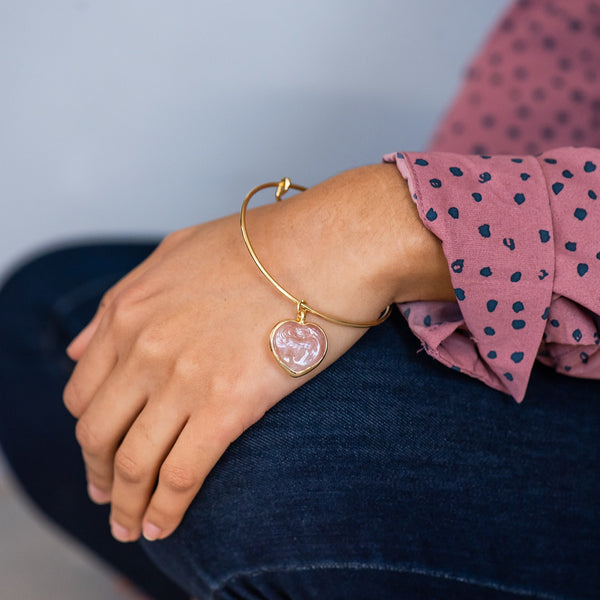 gold bangle & heart charm