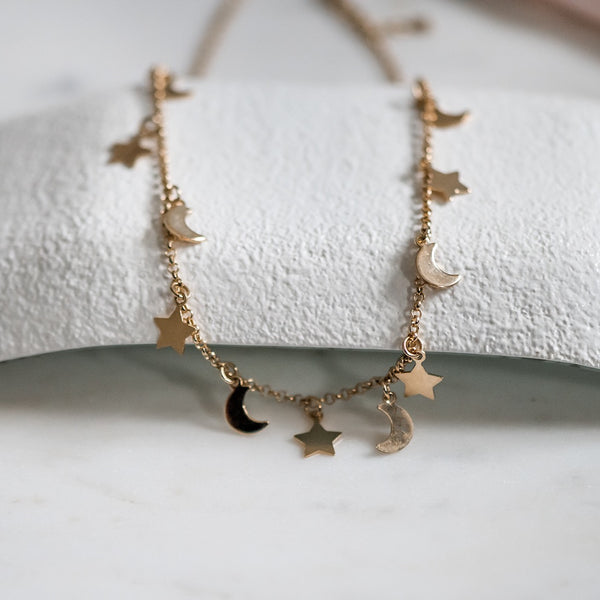 gold filled moon and stars necklace