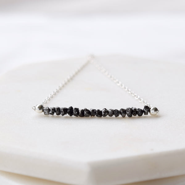 dainty raw black diamonds necklace