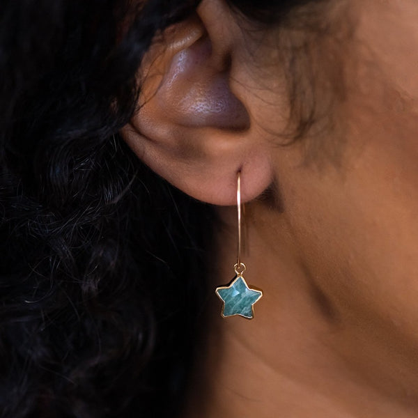 star drop earrings gold