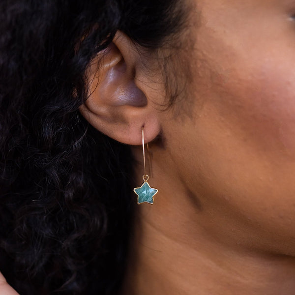amazonite earrings gold filled