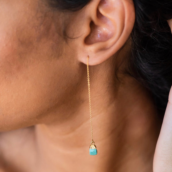 Raw Turquoise Gold Filled Threader Earrings