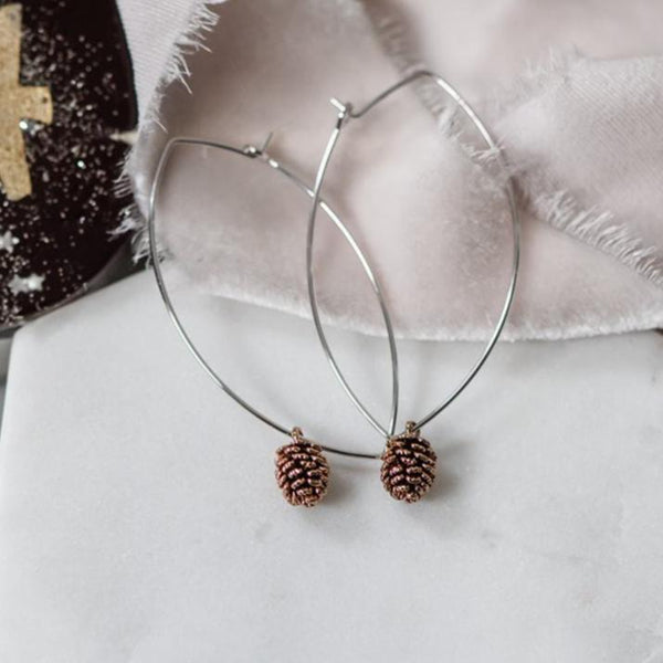 Rose Gold Pinecone Hoop Earrings