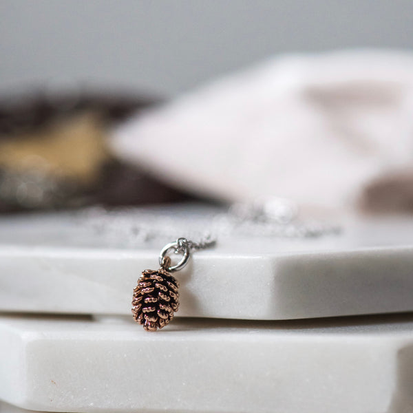 Rose Gold Pinecone Necklace