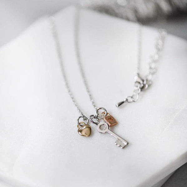 Dainty Lock & Key Necklace