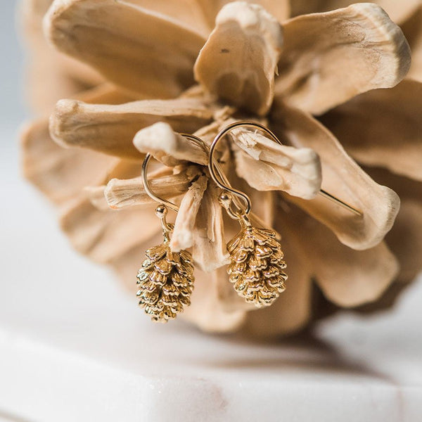 Pinecone Earrings ~ Gold