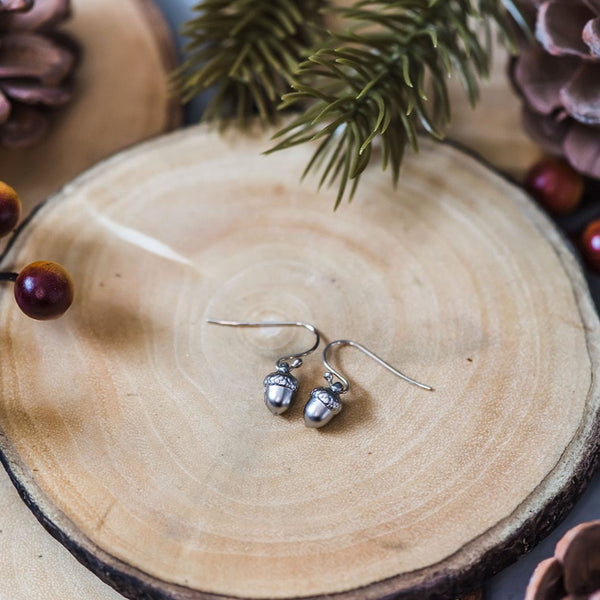 Sweet Silver Acorn Earrings