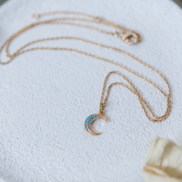 Blue Moon Necklace ~ Dainty Gold Moon With Blue Crystals