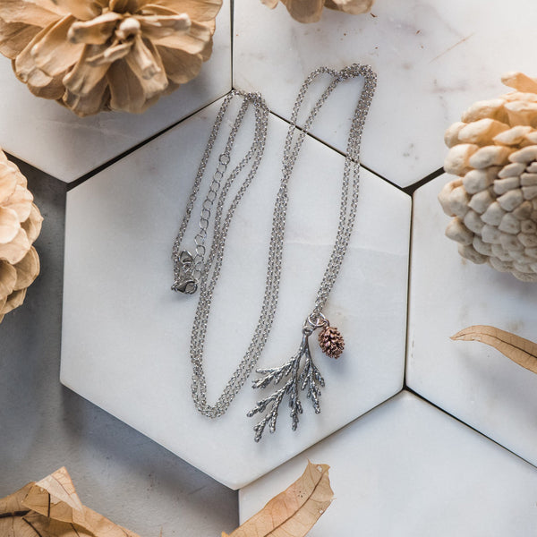 Cedar Sterling Silver Necklace & Sweet Rose Gold Pinecone ~ Woodland Jewelry