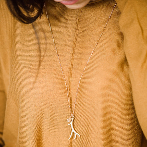 Gold Antler Necklace ~ Gold Pine Cone
