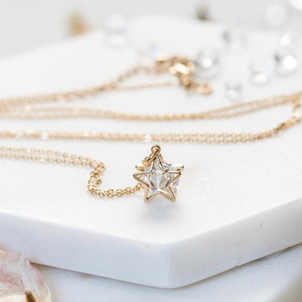 Star Necklace ~ Dainty Sparkly Gold Star Pendant