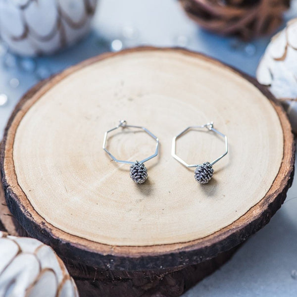 Geometric Silver Pinecone Hoop Earrings