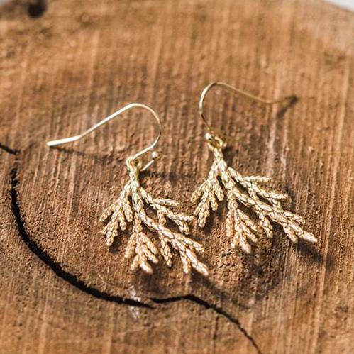 gold cedar branch earrings