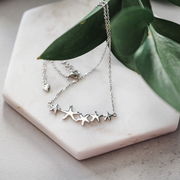 Starfish Cluster Sterling Silver Pendant Necklace