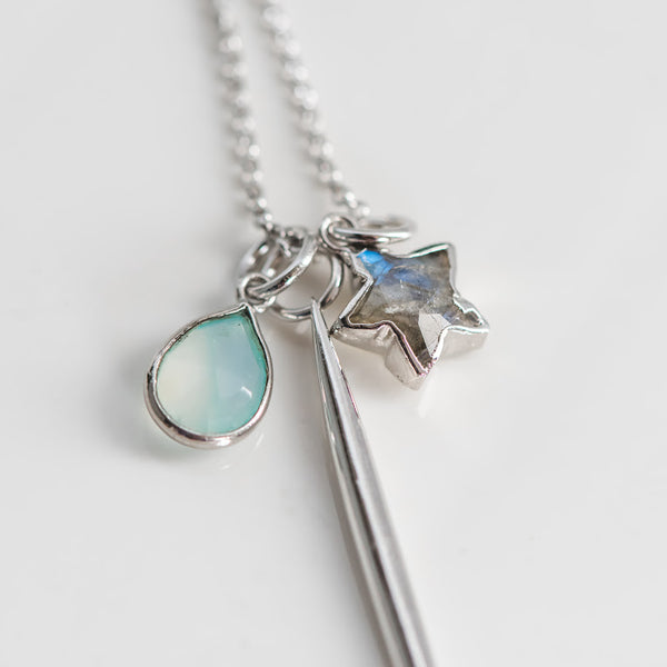 Dreamy Chalcedony & Labradorite Charm Necklace ~ Short Sterling Silver Chain