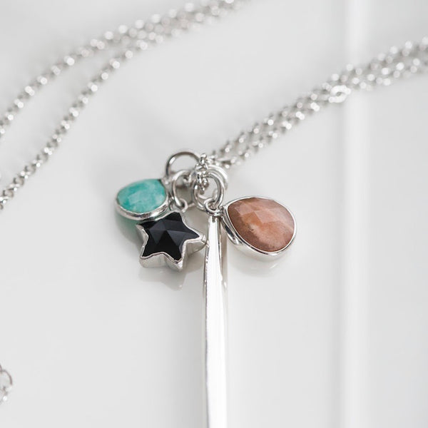 Dreamy Peach Moonstone, Amazonite, & Onyx Charm Necklace ~Long Sterling Silver Chain