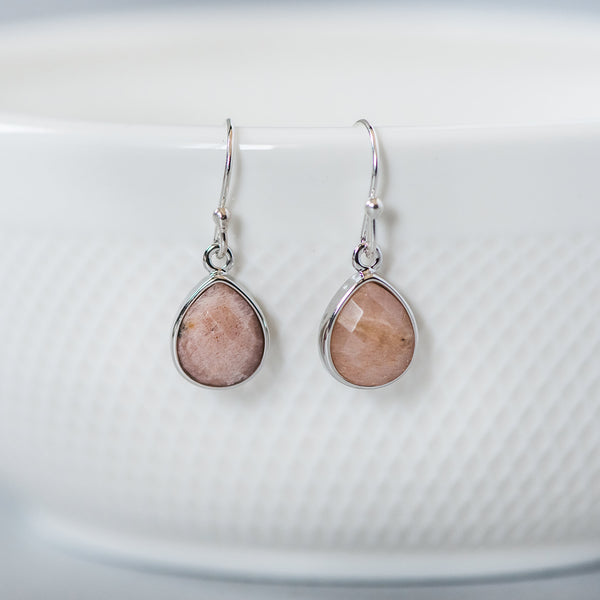 Peach Moonstone Teardrop Drop Earrings