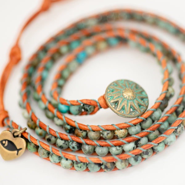 Beaded Leather African Turquoise Wrap Bracelet