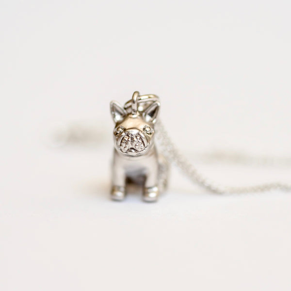 Tiny French Bulldog Necklace ~ Gold or Silver