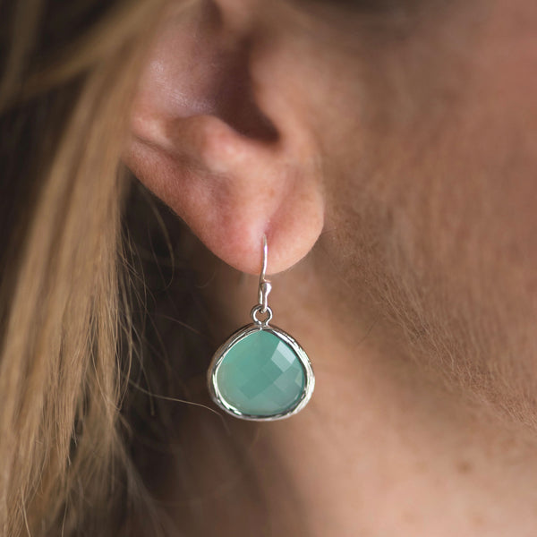 aqua blue and silver crystal drop earrings