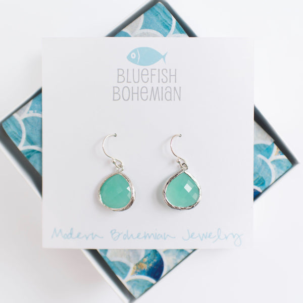 aqua sterling silver earrings