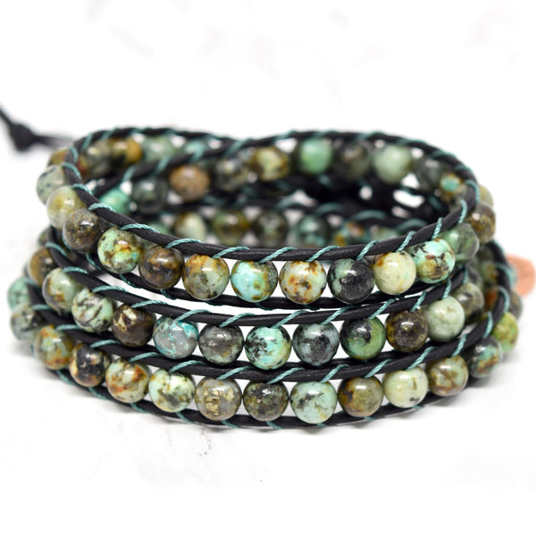 Black Leather & African Turquoise Wrap Bracelet