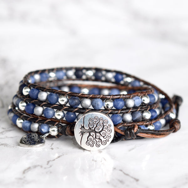 Blue Sodalite & Silver Mixed Wrap Bracelet