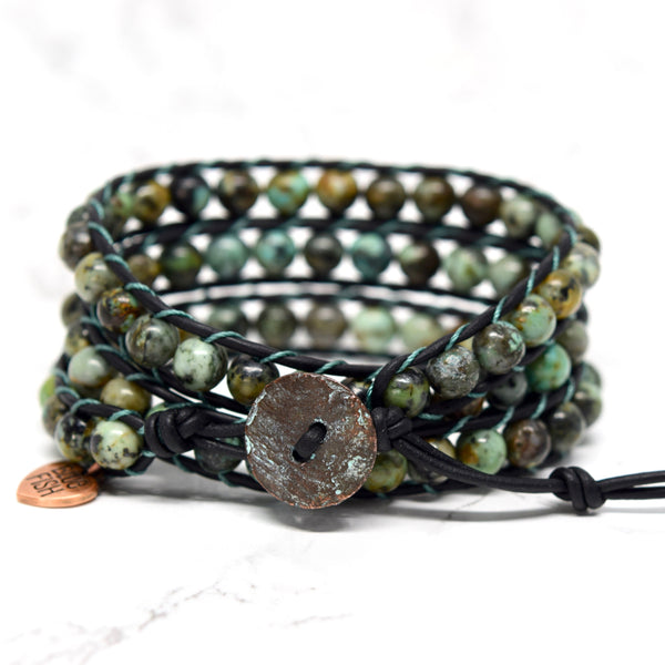 african turquoise wrap bracelet