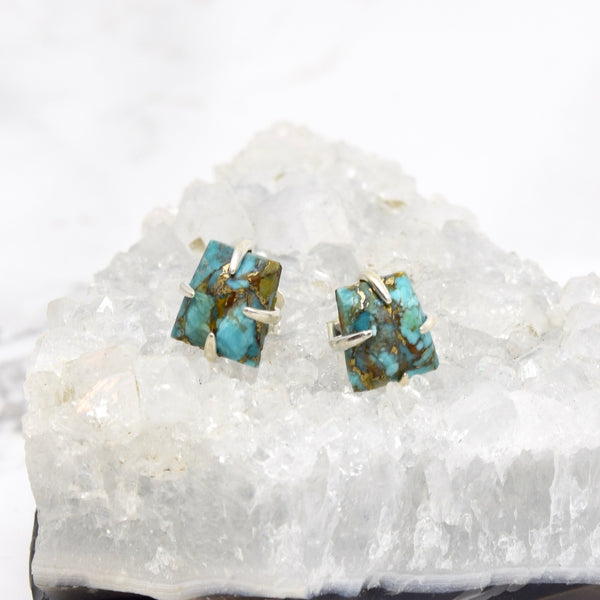 Claw Set Gemstone Stud Earrings ~ Turquoise