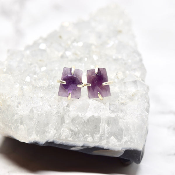 Claw Set Gemstone Stud Earrings ~ Amethyst