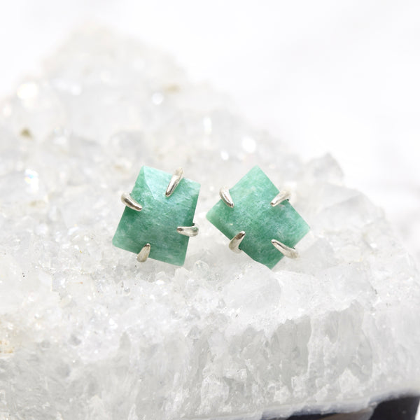 Claw Set Gemstone Stud Earrings ~ Amazonite