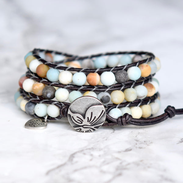 amazonite beaded leather wrap bracelet butterfly button
