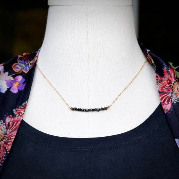black diamond bar necklace minimalist necklace