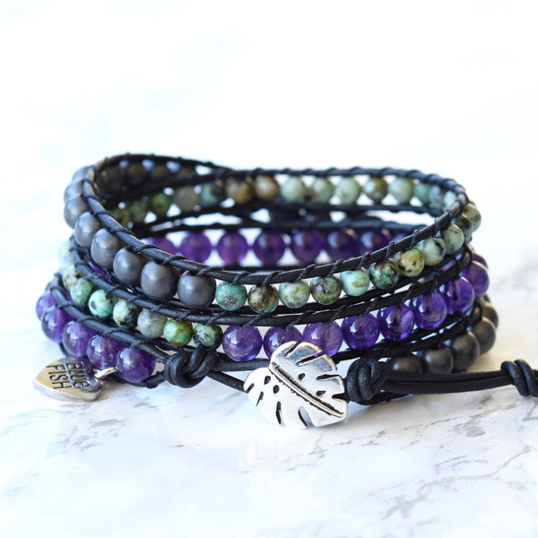 Amethyst, African Turquoise, & Hematite Wrap Bracelet