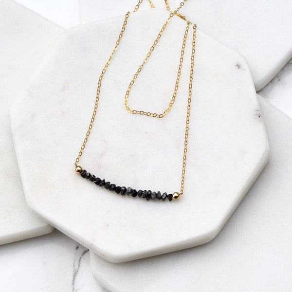 black diamond minimalist bar necklace gold filled gold black diamond