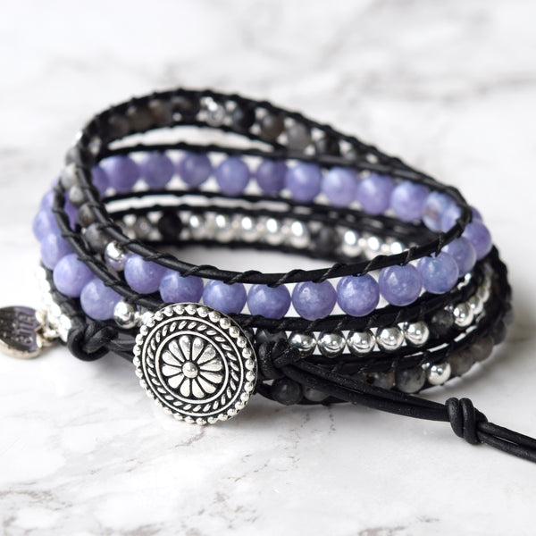 beaded wrap bracelet boho leather wrapped bohemian bracelet bluefish purple bracelet beaded purple wrap