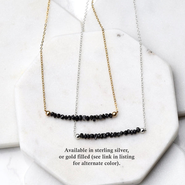 Black Diamond Nugget Necklace ~ Gold Filled
