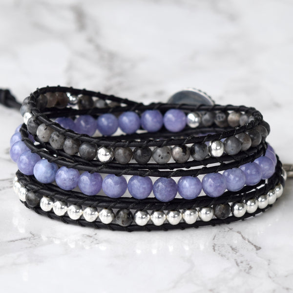 angelite hematite larvikite labradorite beaded leather wrap bracelet