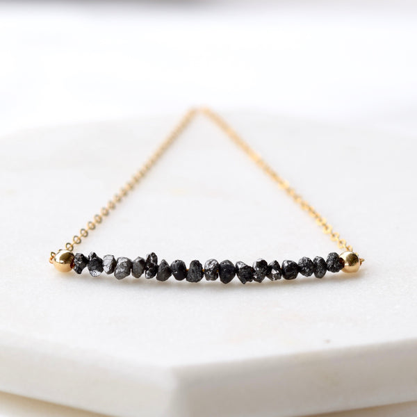 black diamond nugget necklace raw black diamonds
